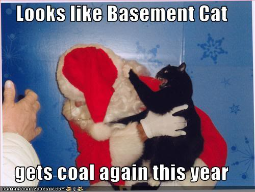 LOLcat: Basement Cat Attacks Santa, Gets Coal Again This Year